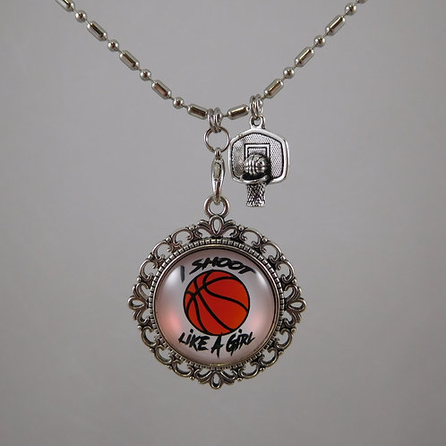 I Shoot Like A Girl Basketball Necklace
