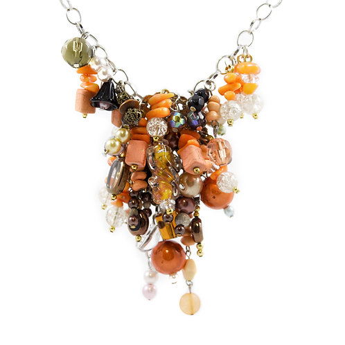 Tangerine Cluster Y Necklace