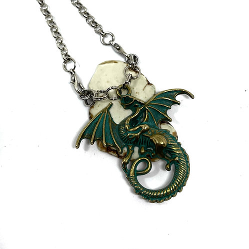 Patina Dragon on White Turquoise Necklace