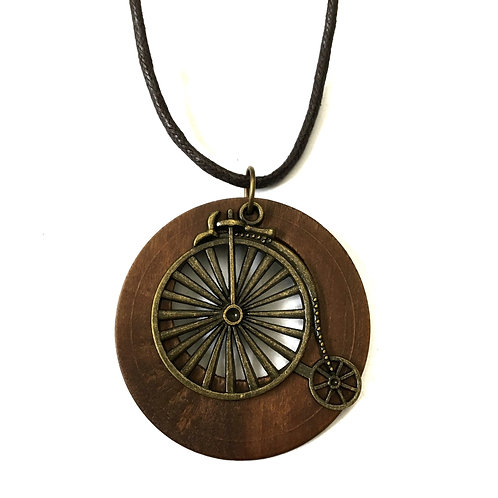 Antique Bicycle Wood Necklace