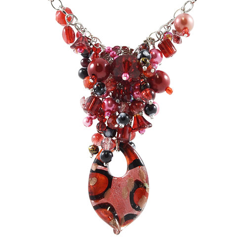 Red Dalmation Murano Y Necklace