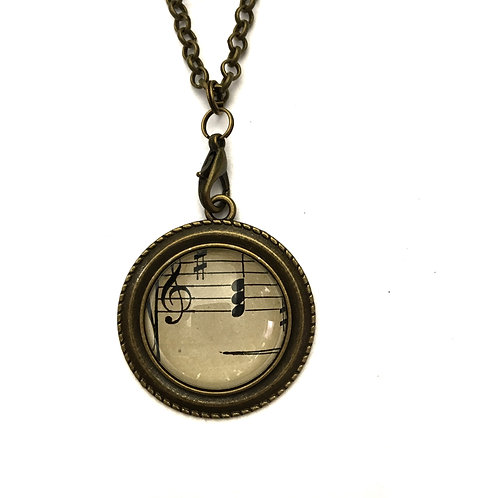 1893 Treble Clef and Notes Vintage Sheet Music Necklace