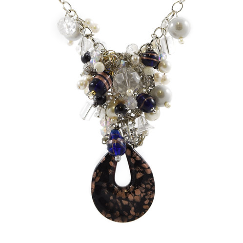 Black and Copper Murano Y Necklace