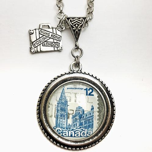 1977 Blue Parliament Canada Vintage Stamp Necklace
