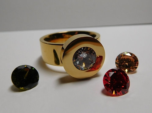 Changeable Stone Gold Metal Ring