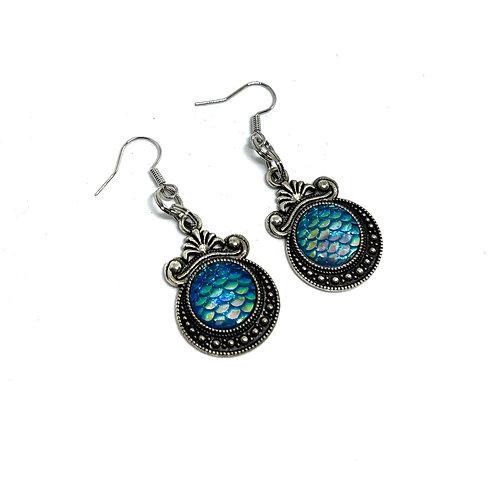 Blue Dragon Scale Earrings