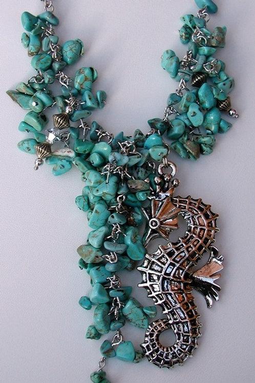 Turquoise Stone Seahorse Necklace