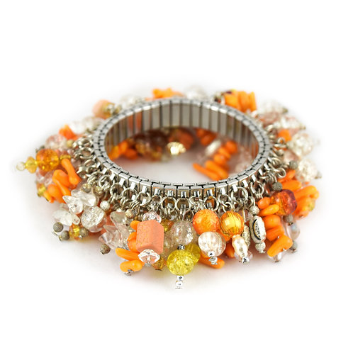 Orange Stone Chip Bead Cha Bracelet cha010
