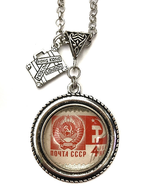 1966 CCCP Vintage Stamp Necklace