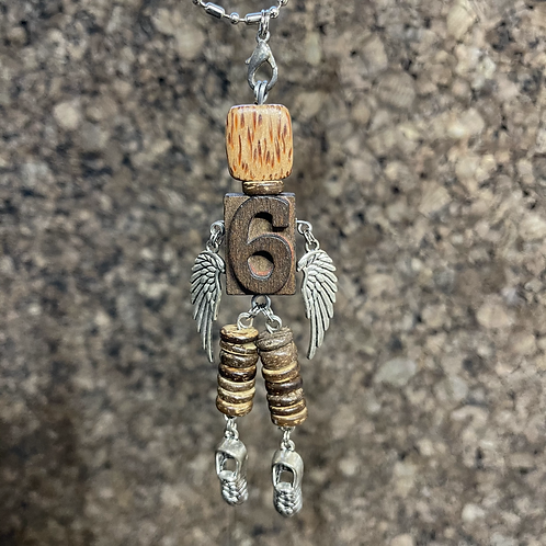 Number 6 Guardian Angel Wood Necklace