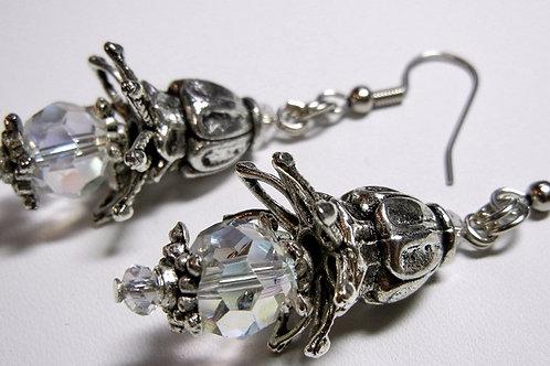 Silver Colored Cap Earrings