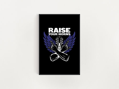 Raise Your Horns Blue Wings  Print