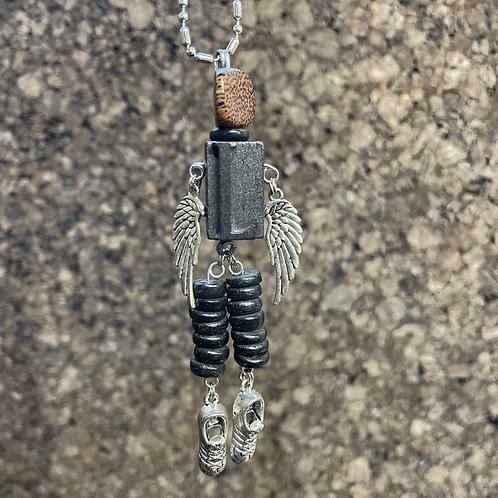 Letter L Guardian Angel Wood Necklace