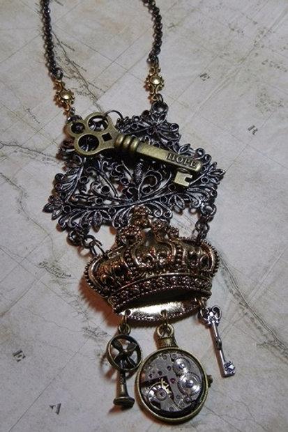 Regal Crown Steampunk Necklace