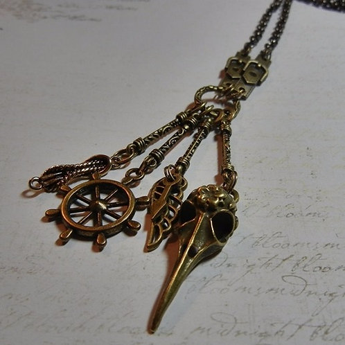 Nautical Bird Skull Steampunk Necklace