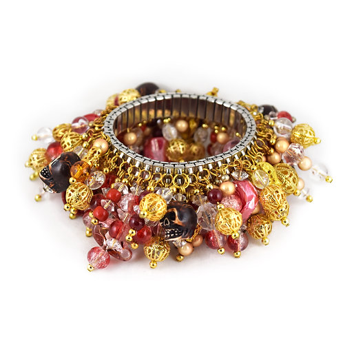 Red and Gold Skull Cha Bracelet cha014
