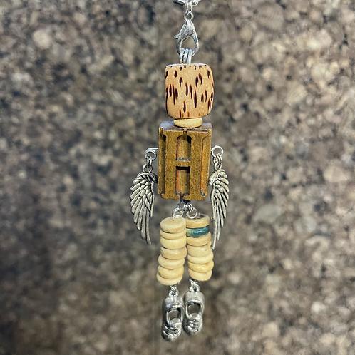 Letter H Guardian Angel Wood Necklace