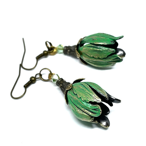 Patina Tulip  Earrings