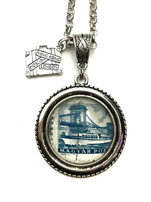 1962 Magyar Posta Bridge Vintage Stamp Necklace