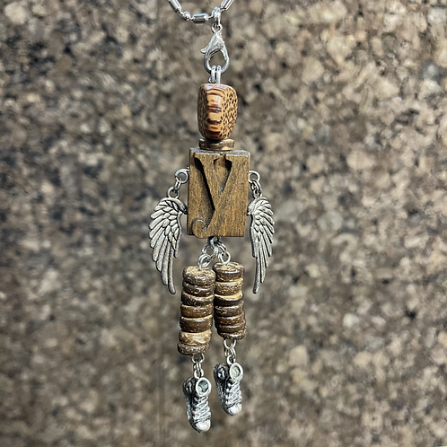Letter Y Guardian Angel Wood Necklace