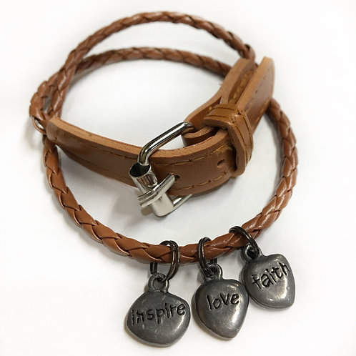 3 Wish Bracelet  BROWN Faith Love Inspire