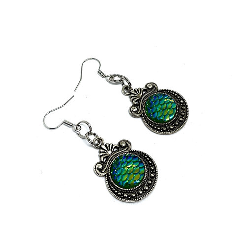 Green Dragon Scale Earrings