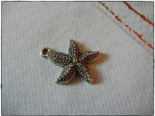 Silver Starfish Charm 10pcs