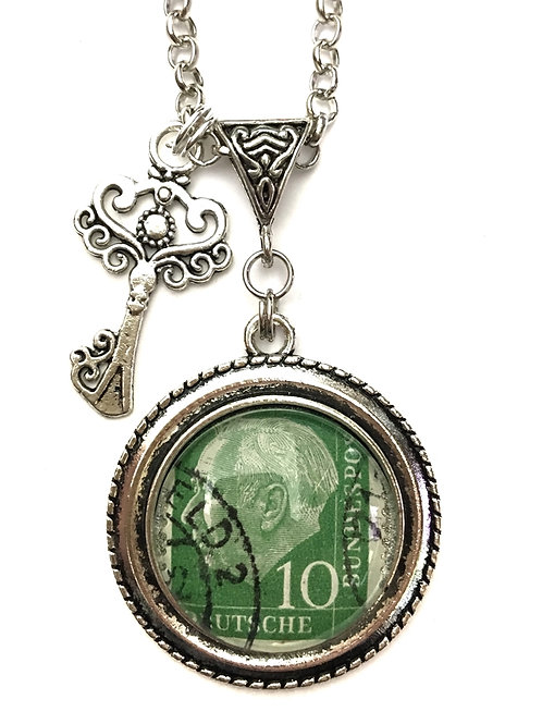 1954 Theodor Heuss Vintage Stamp Necklace