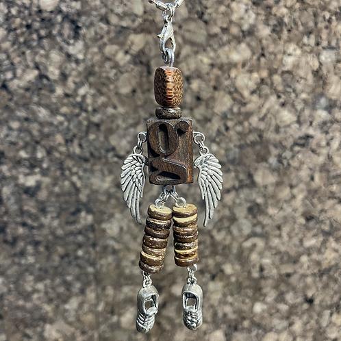 Letter G Guardian Angel Wood Necklace