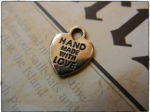 Hand Made With Love Charms Heart 10pcs