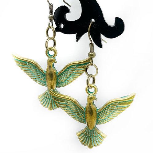 Patina Birds in Flight Earrings