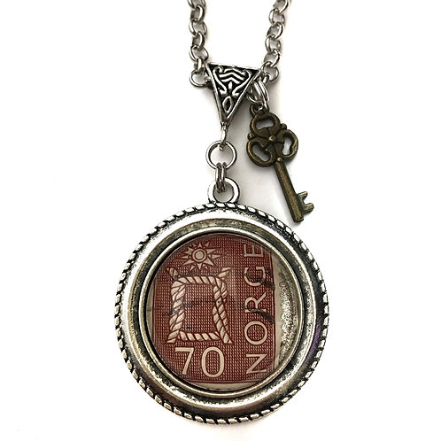 Circa 1967 70 Norge Rope Vintage Stamp Necklace