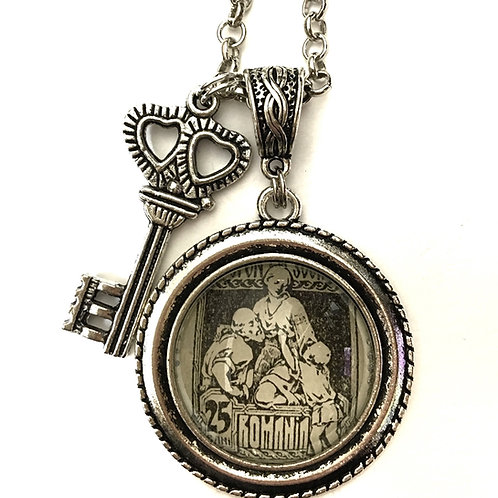 1921 Social Assistance Charity Vintage Stamp Necklace
