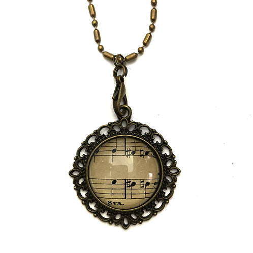 1893 8va Vintage Sheet Music Necklace