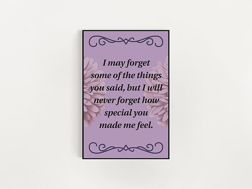 I May Forget (purple floral version) Print