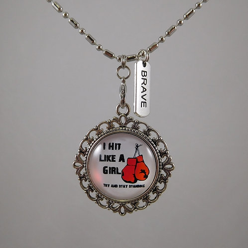 I Hit Like A Girl Boxing Necklace