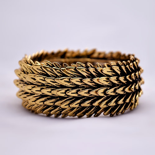 Gold Color Angel Feather Cuff Bracelet