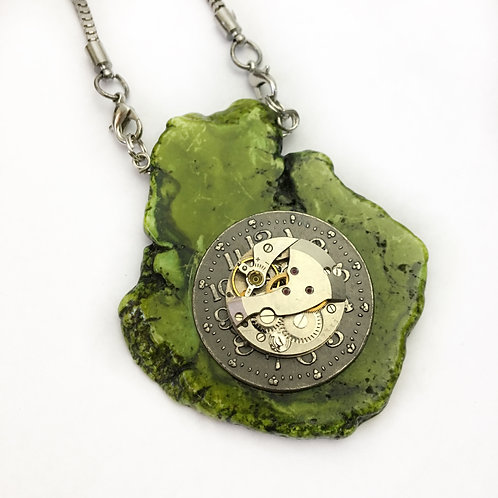 Green With Envy Rock Slice Steampunk Necklace