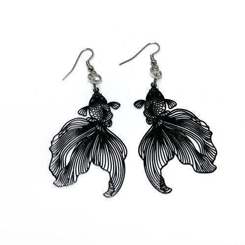 Black Goldfish Earrings