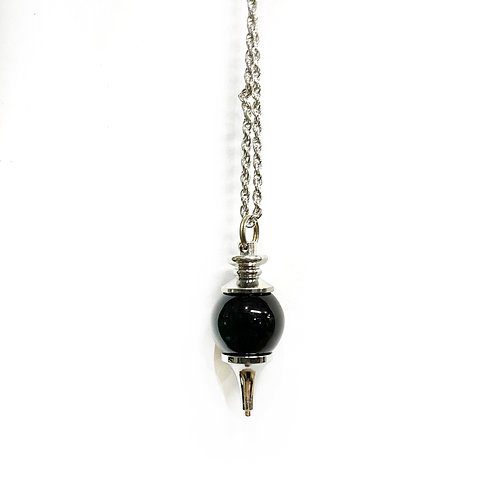 Black Agate  Ball  Necklace