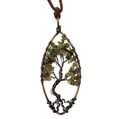 Green Tree Of Life Stone Necklace
