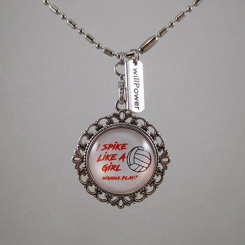 I Spike Like A Girl  Volleyball Necklace