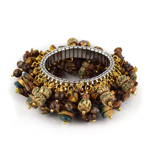 Distressed Wood Bead Cha Bracelet cha011