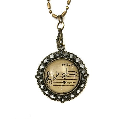1893 Vintage Sheet Music Selves Necklace