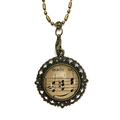 1893 Made Us Vintage Sheet Music Necklace