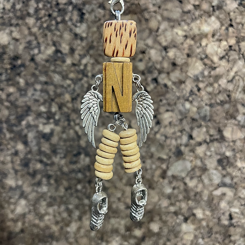 Letter N Guardian Angel Wood Necklace