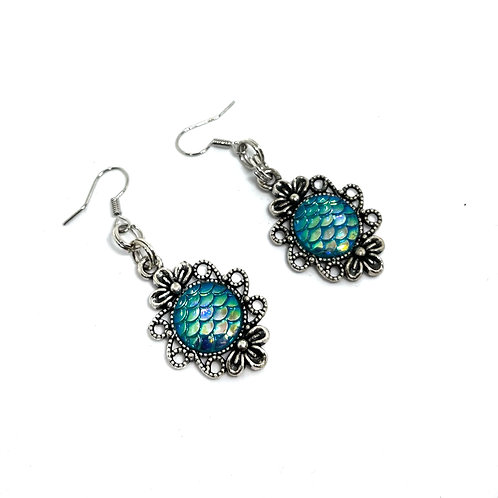 Light Turquoise Dragon Scale Earrings