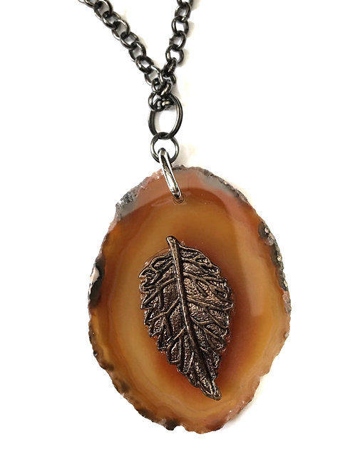 Leaf in Nature Stone Necklace