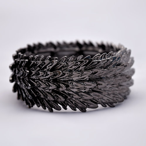 Gunmetal Angel Feather Cuff Bracelet