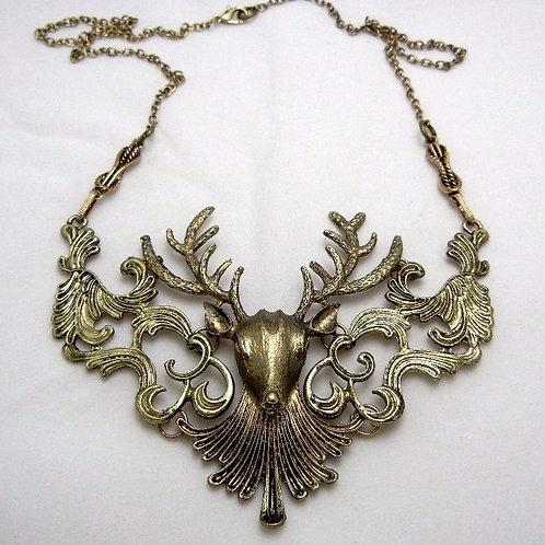 Antique Bronze Vintage Look Deer Choker Necklace